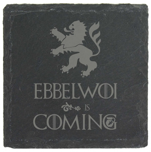 "Schiefer Untersetzer ""Ebbelwoi is coming"""