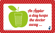 "Frühstücksbrettchen ""An Äppler a day keeps the day keeps the doctor away"""